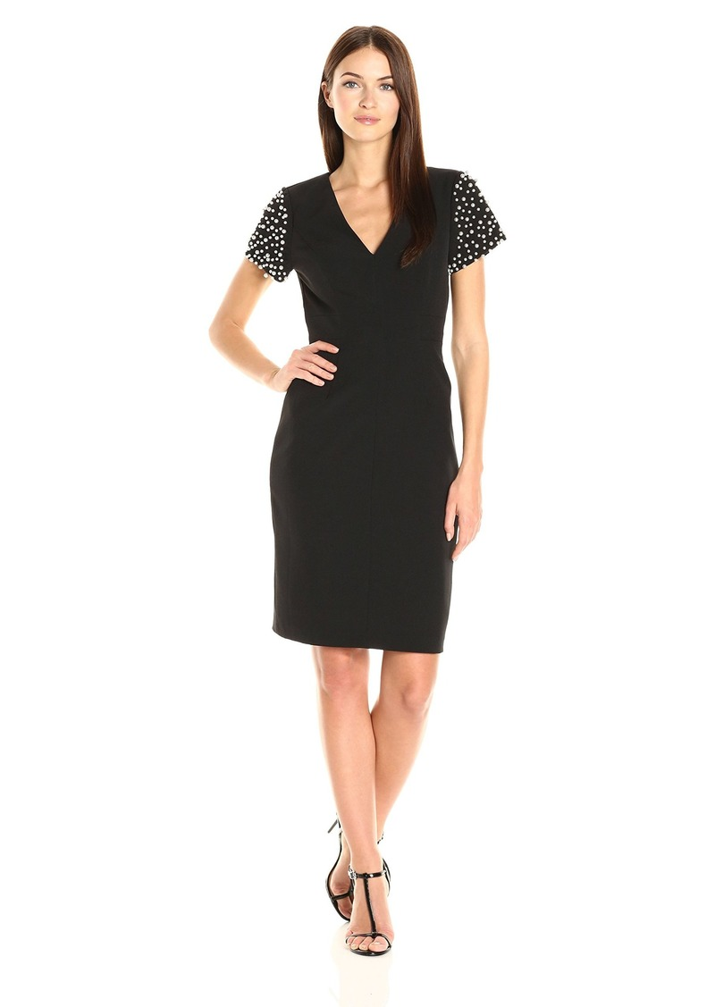 Adrianna Papell Women's Beaded Sleeve Sheath Dress