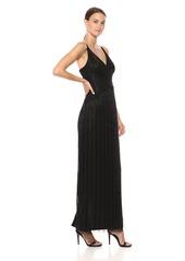 Adrianna Papell Women's Beaded Spaghetti Strap V-Neck Column Gown Dress
