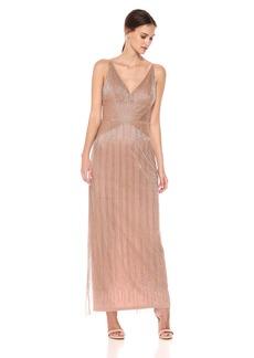 Adrianna Papell Women's Beaded Spaghetti Strap v-Neck Long Column Dress