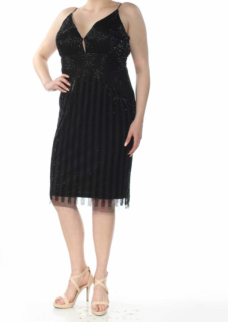 Adrianna Papell Women's Beaded Spaghetti Strap v-Neck Sheath Short Dress