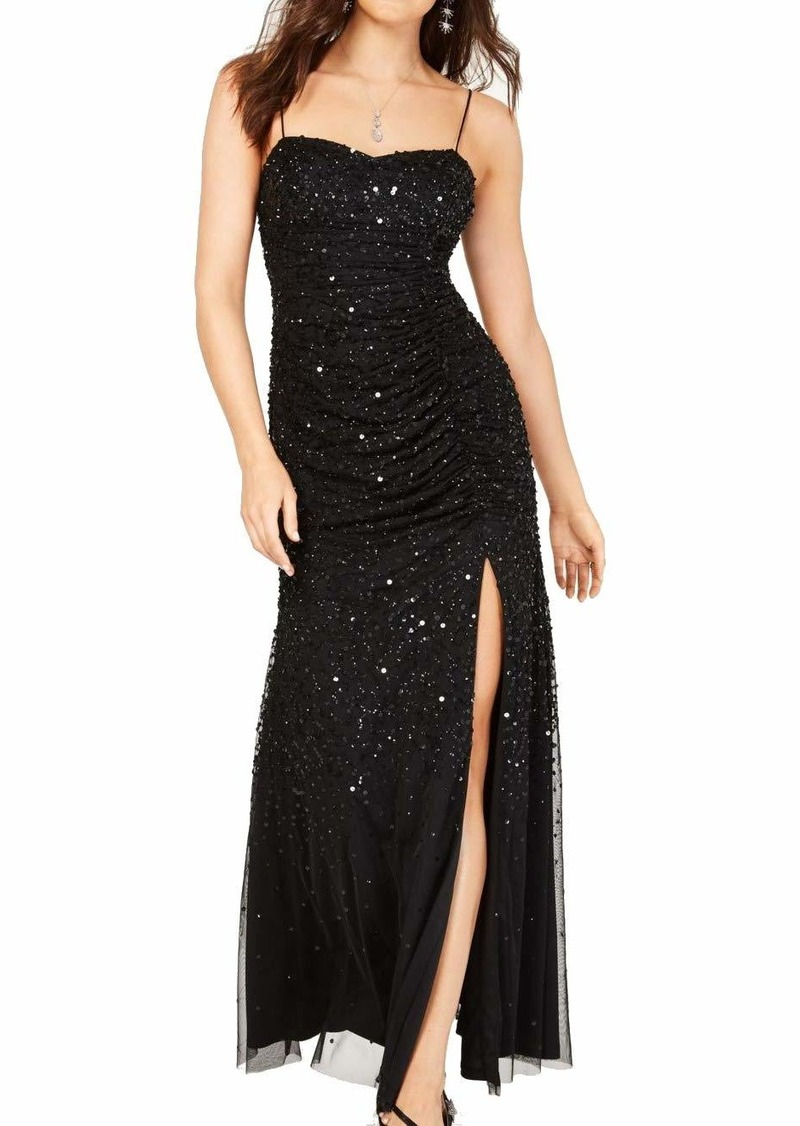 Adrianna Papell Women's Beaded Tank Shirred Gown