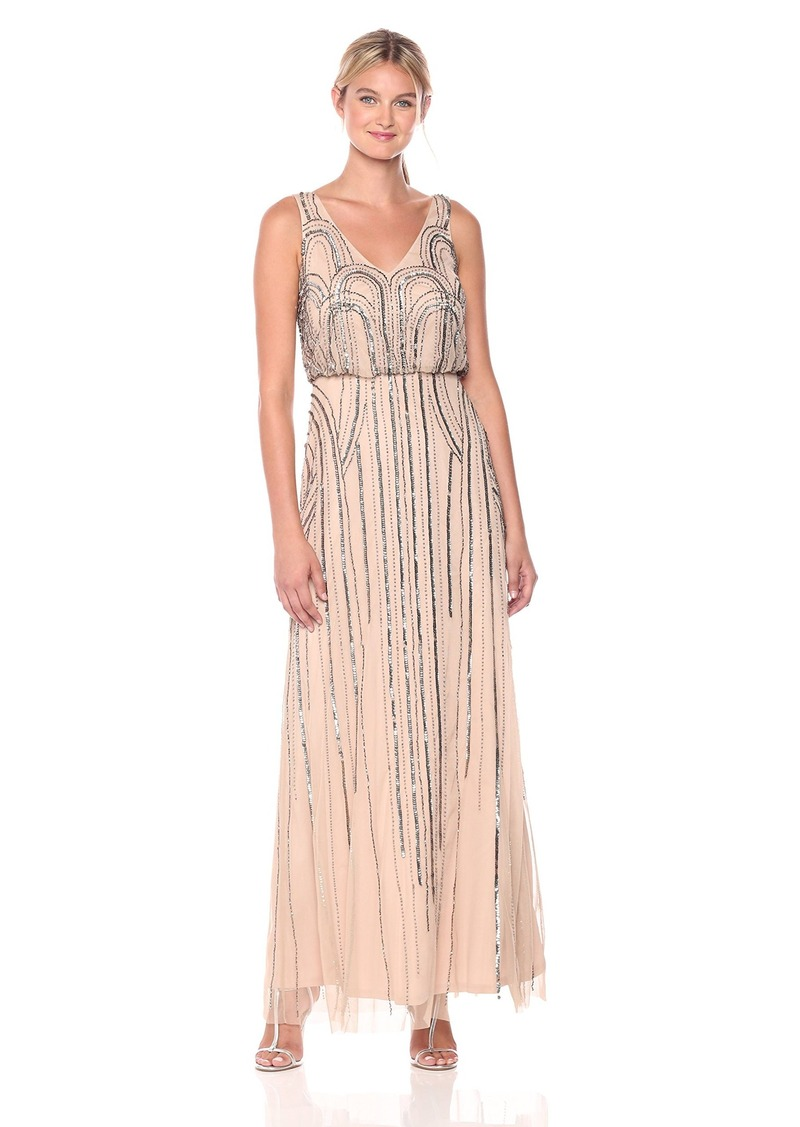 Adrianna Papell Adrianna Papell Women\'s Beaded V-Neck Blouson Gown ...