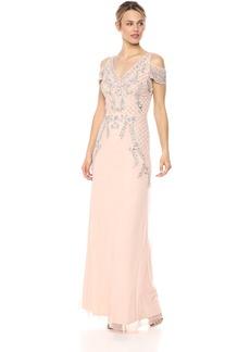 Adrianna Papell Women's Beaded Vneck Long Dress