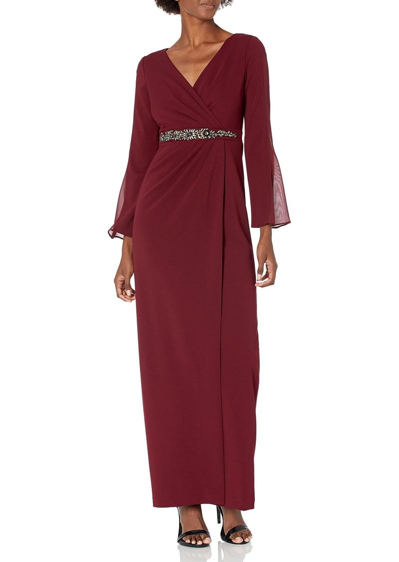 Adrianna Papell Women's Beaded Waistline Chiffon Long Sleeve Knit Crepe Dress