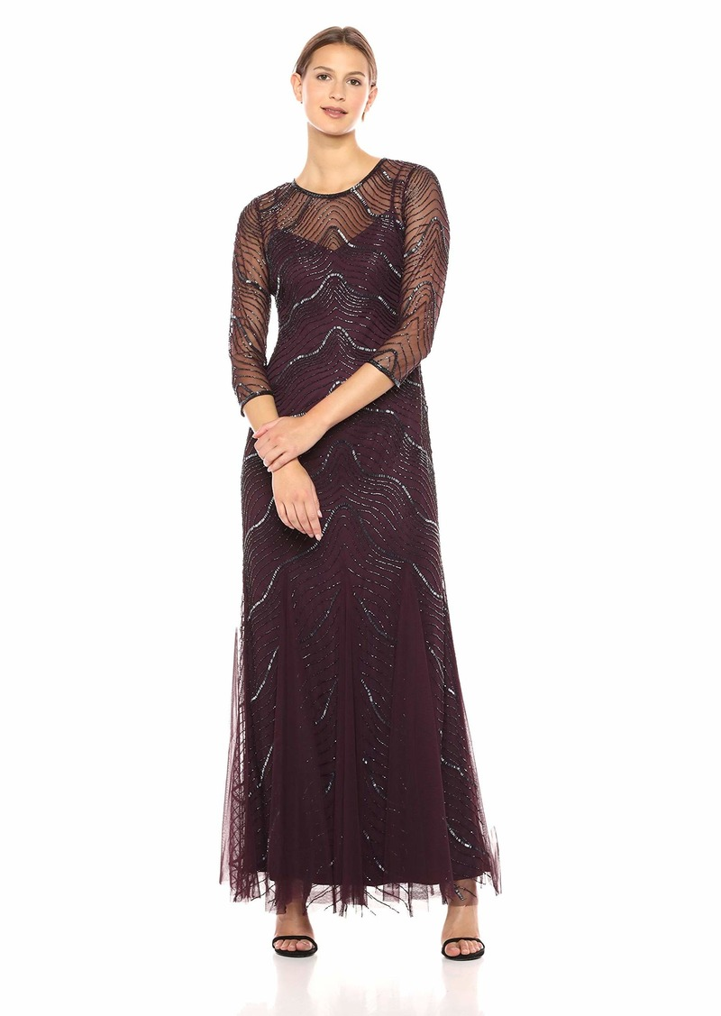 Adrianna Papell Women's Beautiful New Deco Beaded Godet Dress with Elbow Sleeves