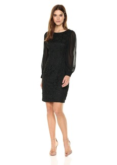 Adrianna Papell Women's Bishop Sleeve Ava Lace Sheath