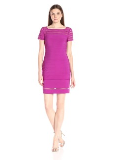 Adrianna Papell Women's Boat Neck Dress with Gradiating Bands