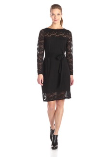 Adrianna Papell Women's Boat Neck Lace Inserted Dress