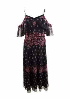 Adrianna Papell Women's Boho Inspired Cold Shoulder Floral Beaded Cocktail Dress
