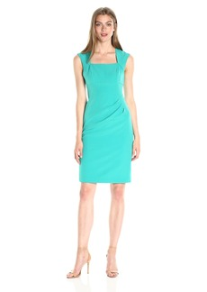 Adrianna Papell Women's Bolero Neckline Stretch Crepe Sheath