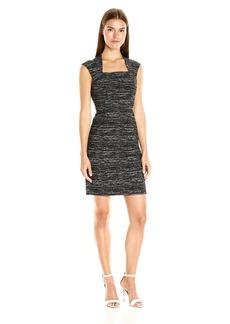 Adrianna Papell Women's Bolero Top Sheath Dress Black/Ivory