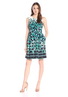 Adrianna Papell Women's Border Printed Crepe Sleeveless Dress