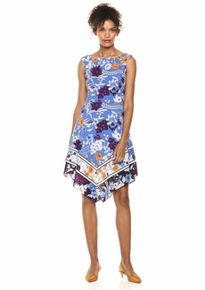 Adrianna Papell Women's Botanical Border FIT and Flare peri Multi