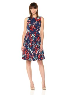 Adrianna Papell Women's Botanical Soiree Pleated Dress