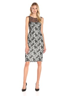 Adrianna Papell Women's Bounded Lace Over Eyelet Neoprene Shift Cocktail Dress Black/Ivory