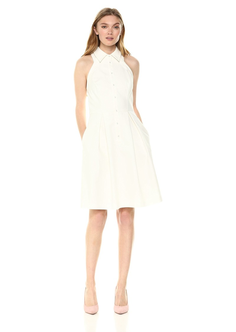 Adrianna Papell Women's Button Up Halter Fit and Flare Dress