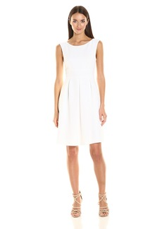 Adrianna Papell Women's Cameron Textured Woven Dress with Wide Waistband