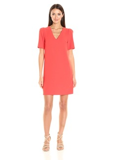 Adrianna Papell Women's Cameron Textured Woven Shift Dress with Tucked Sleeve Detail