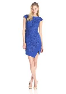 Adrianna Papell Women's Cap Sleeve Asymmetrical Hem Dress