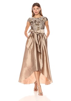 Adrianna Papell Women's Cap Sleeve Bead and Embroidered Gown with Hi Low Hem