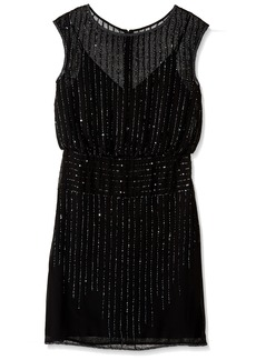Adrianna Papell Women's Cap Sleeve Beaded Blouson Cocktail Dress