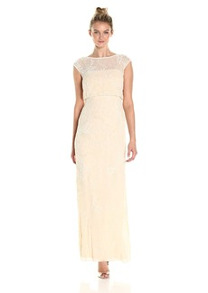 Adrianna Papell Women's Cap Sleeve Beaded Blousson Gown