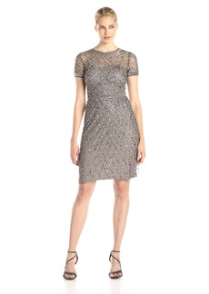 Adrianna Papell Women's Cap-Sleeve Beaded Cocktail Dress