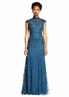 Adrianna Papell Women's Cap Sleeve Beaded Funnel Neck Gown