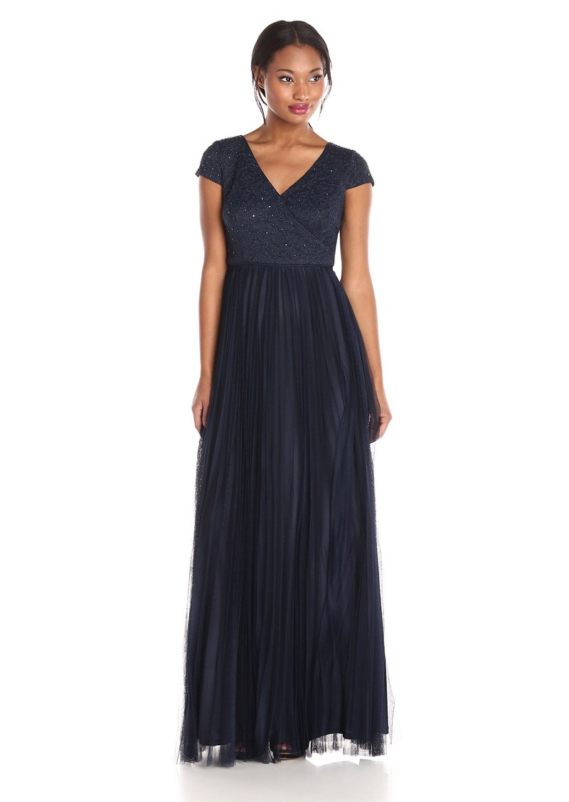 Adrianna Papell Women's Cap Sleeve Beaded Lace V Neck Gown