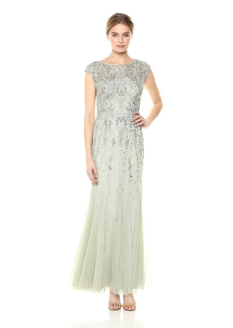 Adrianna Papell Women's Cap Sleeve Beaded Long Dress