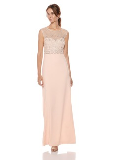 Adrianna Papell Women's Cap Sleeve Beaded Long Dress with Crepe Skirt