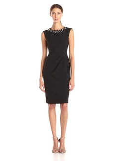 Adrianna Papell Women's Cap Sleeve Beaded Neckline Sheath Dress