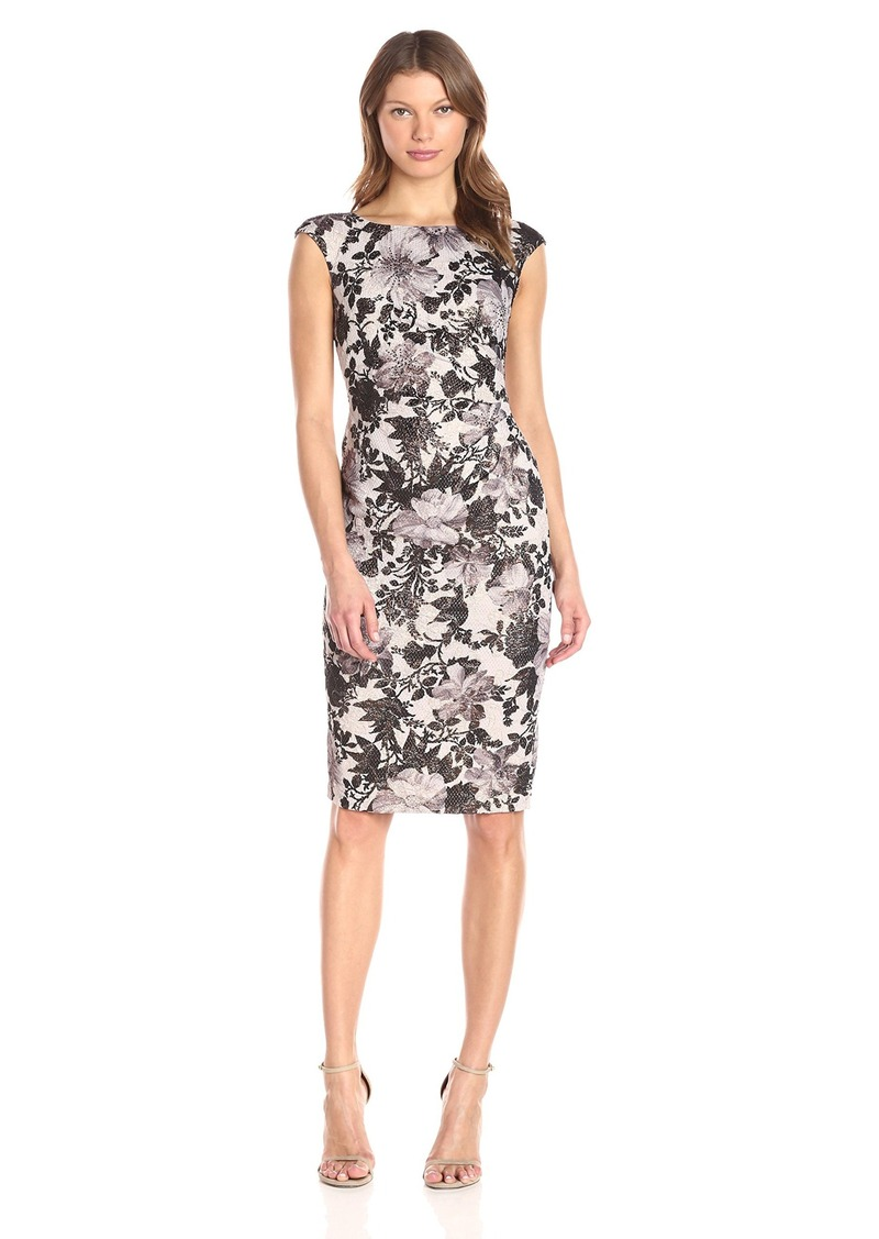 Adrianna Papell Women's Cap Sleeve Cocktail Dress with Rusching at Waistline