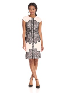 Adrianna Papell Women's Cap Sleeve Dress with Contrast Lace Overlay