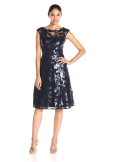 Adrianna Papell Women's Cap Sleeve Fit and Flare Sequin Mesh Dress