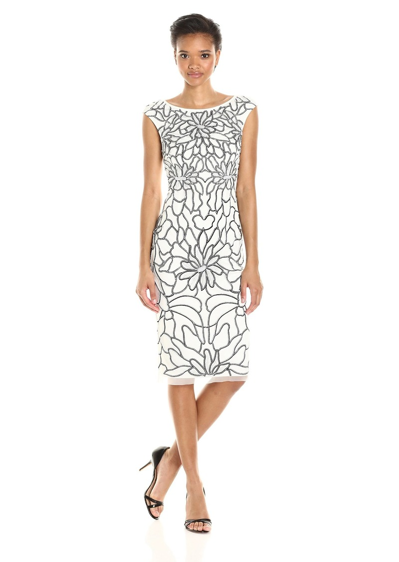 Adrianna Papell Women's Cap Sleeve Floral Beaded Cocktail Dress