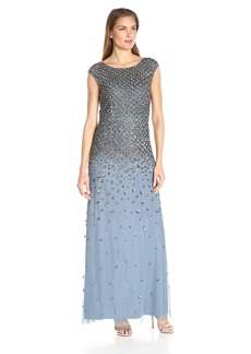 Adrianna Papell Women's Cap Sleeve Fully Beaded Mermaid Gown
