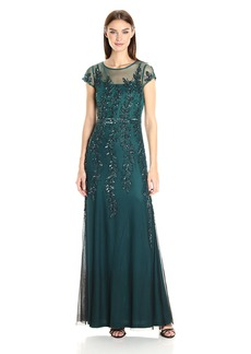 Adrianna Papell Women's Cap Sleeve Illusion Beaded Dress