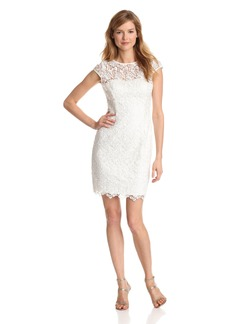 Adrianna Papell Women's Cap Sleeve Illusion Lace Dress