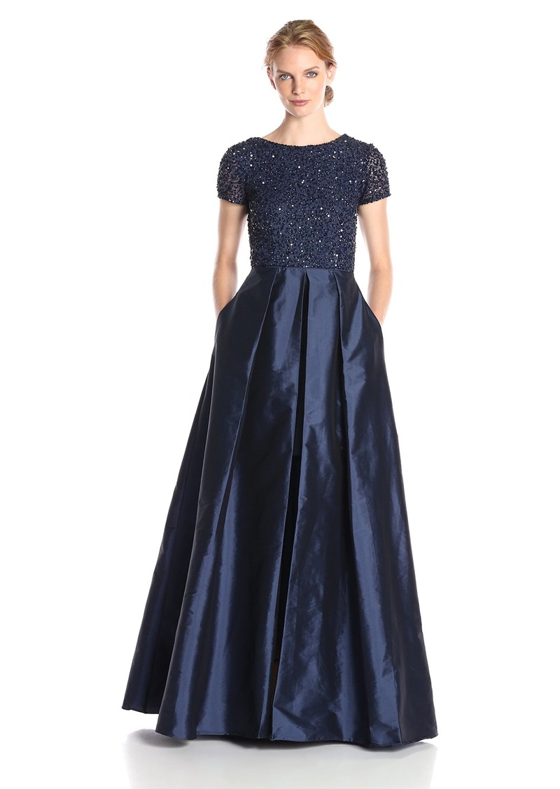 Adrianna Papell Women's Cap Sleeve Illusion Taffeta Gown with Beaded Bodice