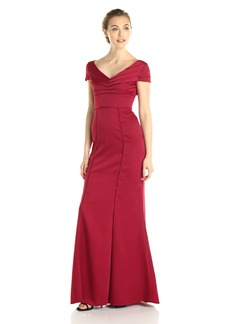 Adrianna Papell Women's Cap Sleeve Illusion V Neck Gown