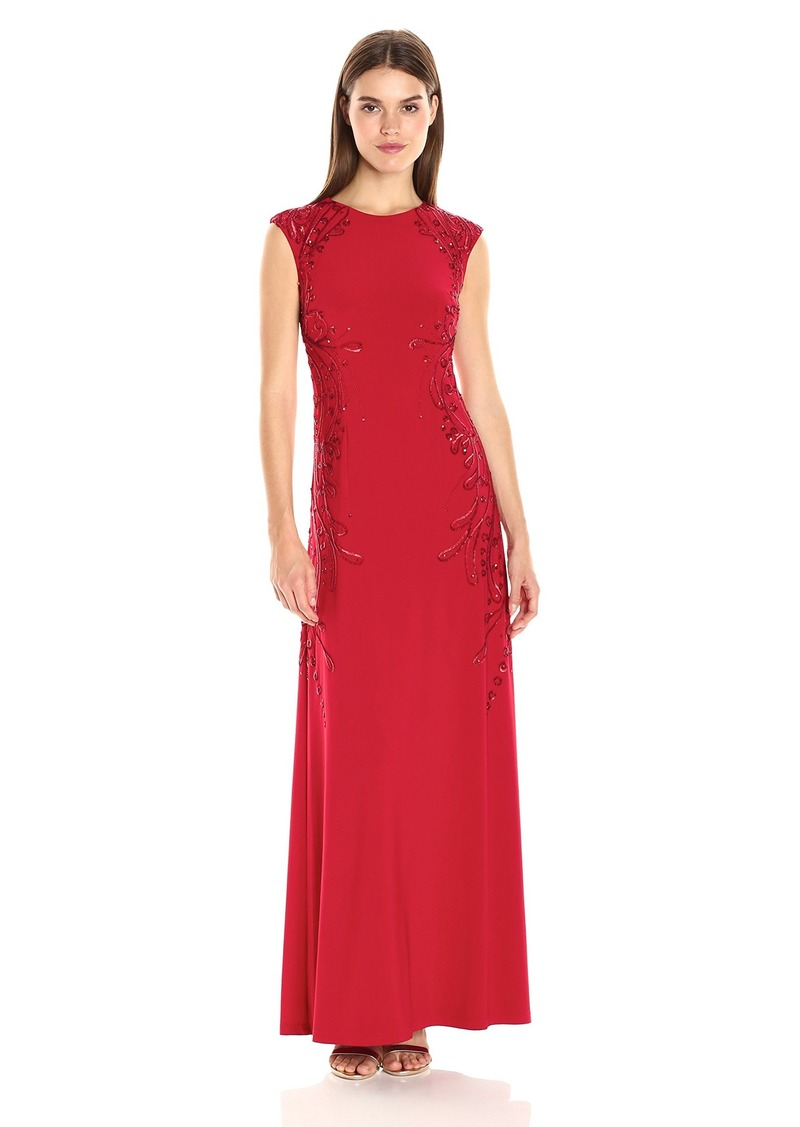 Adrianna Papell Women's Cap Sleeve Jersey Gown with Beading Detail