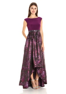 Adrianna Papell Women's Cap Sleeve Jersey Top with Metallic Printed High Low Ball Gown Skirt