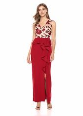 Adrianna Papell Women's Cap Sleeve Knit Crepe Sequin Long Dress