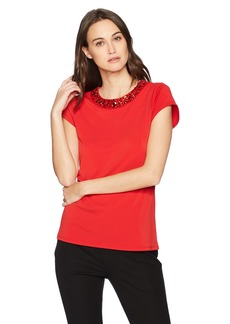 Adrianna Papell Women's Cap Sleeve Knit Top with DTM Stones red