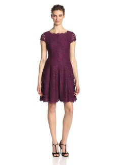Adrianna Papell Women's Cap-Sleeve Lace Fit-and-Flare Cocktail Dress