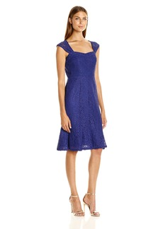 Adrianna Papell Women's Cap Sleeve Lace Midi Dress