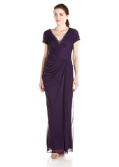 Adrianna Papell Women's Cap Sleeve Rouched Bodice V Neck Gown