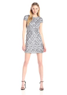 Adrianna Papell Women's Cap Sleeve Short Beaded Dress with Diamond Contrast Beading