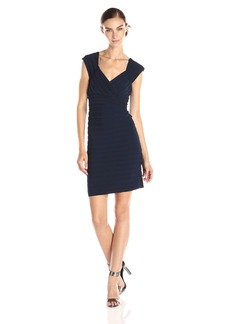 Adrianna Papell Women's Cap Sleeve V Neck Banded Dress